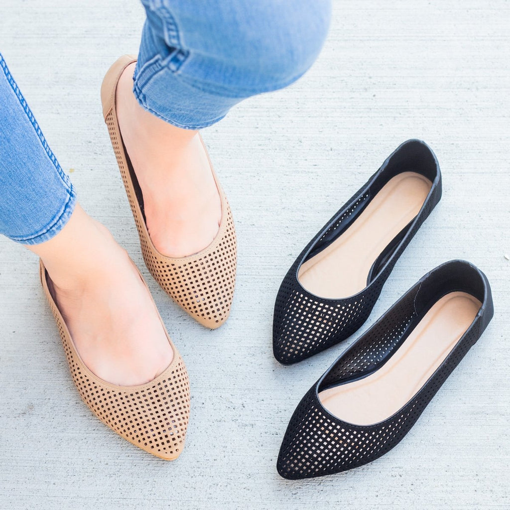 Womens Mesh Almond Toe Ballet Flats - Bamboo Shoes