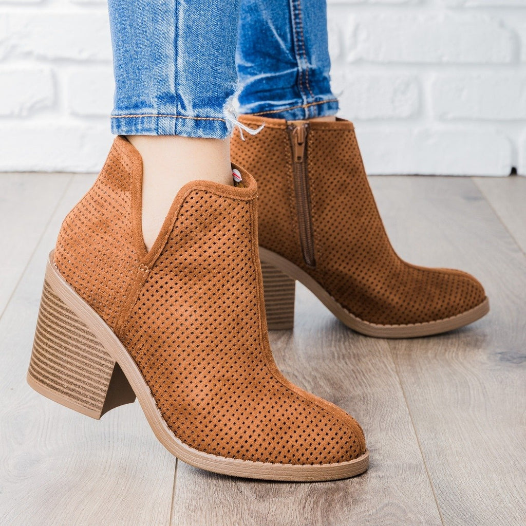 Womens Mesh Ankle Booties - Soda Shoes - Tan / 5