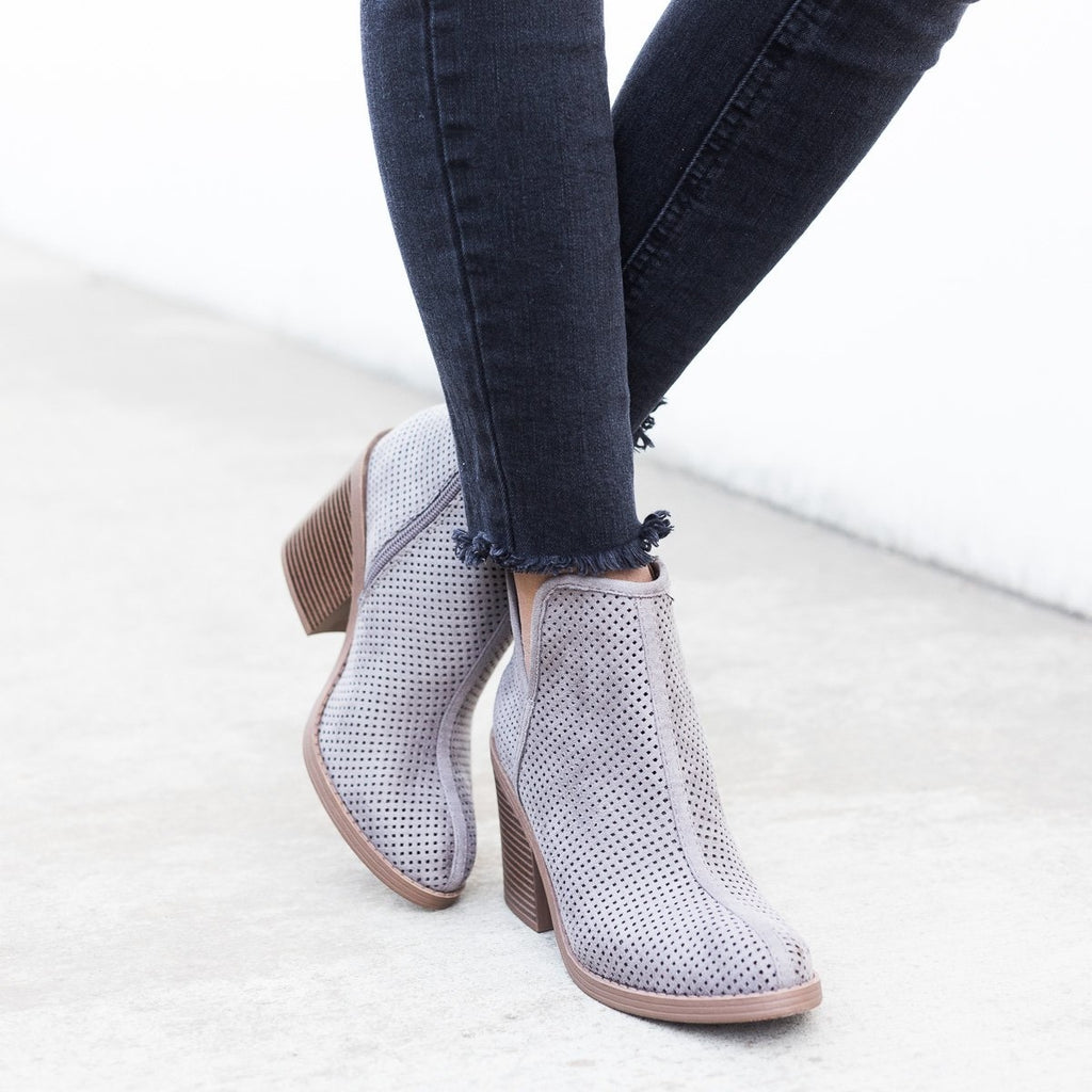 Womens Mesh Ankle Booties - Soda Shoes - Soft Gray / 5