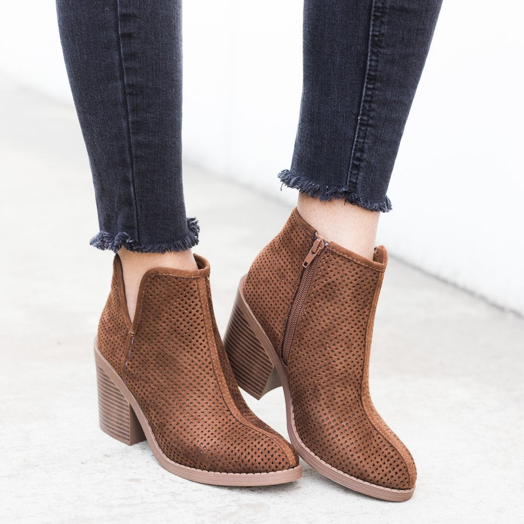 Womens Mesh Ankle Booties - Soda Shoes - Cognac / 5
