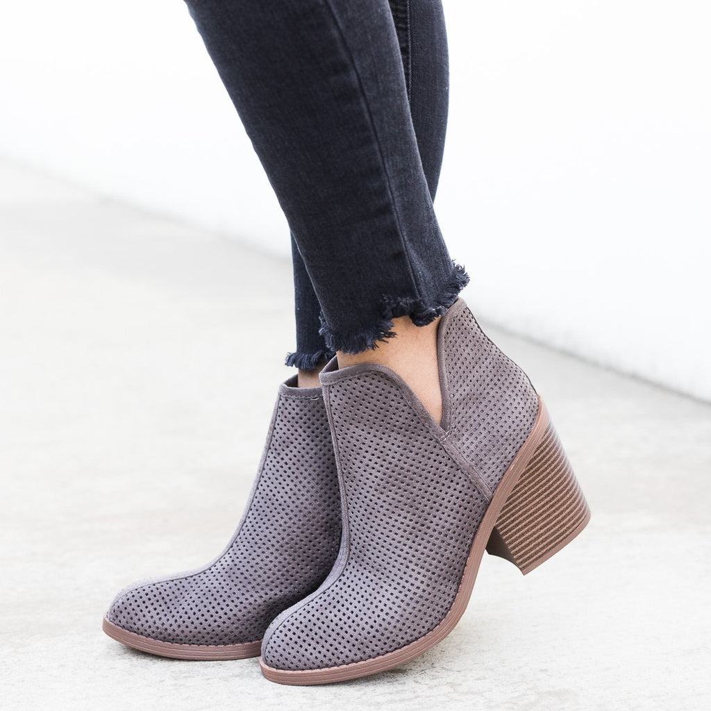 Womens Mesh Ankle Booties - Soda Shoes - Charcoal / 5