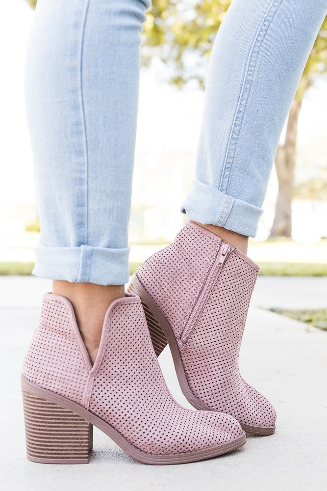 Womens Mesh Ankle Booties - Soda Shoes - Dark Blush / 5