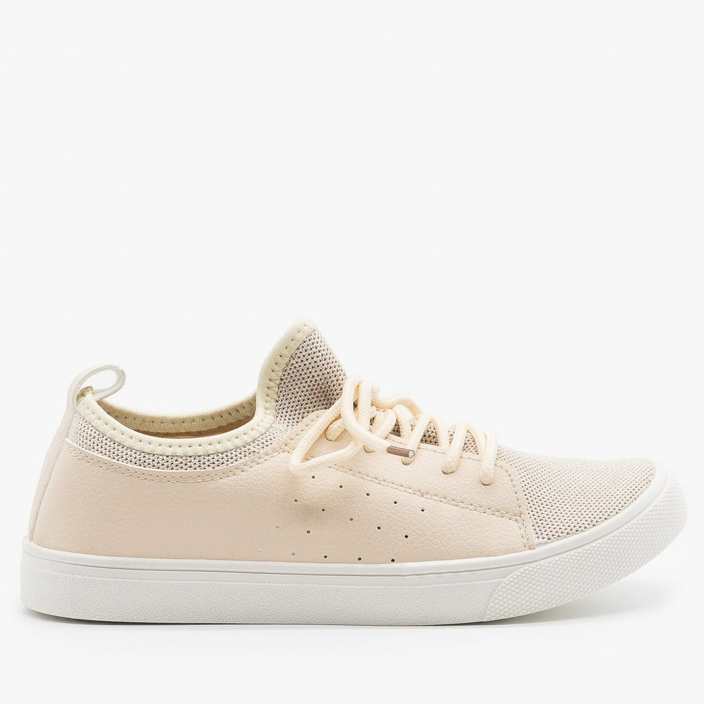 Womens Mesh Athleisure Sneakers - Forever - Beige / 5