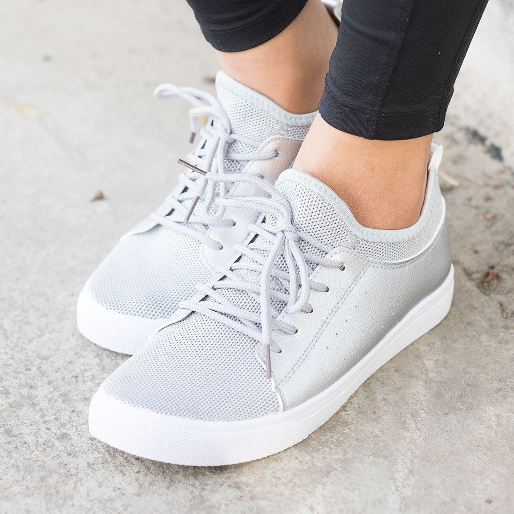 Womens Mesh Athleisure Sneakers - Forever - Silver / 5