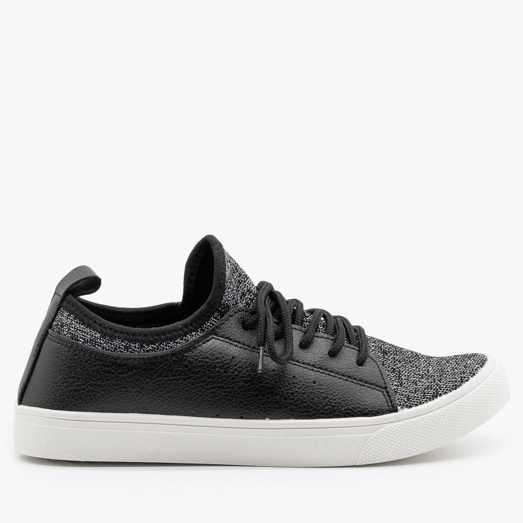 Womens Mesh Athleisure Sneakers - Forever - Black / 5