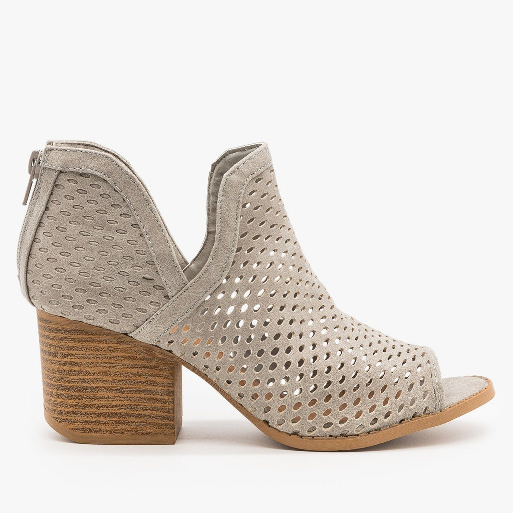 Womens Mesh Peep Toe Booties - Qupid Shoes - Light Gray / 5