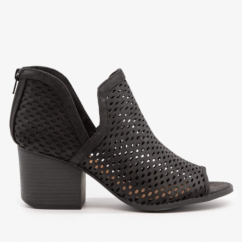 Womens Mesh Peep Toe Booties - Qupid Shoes - Black / 5