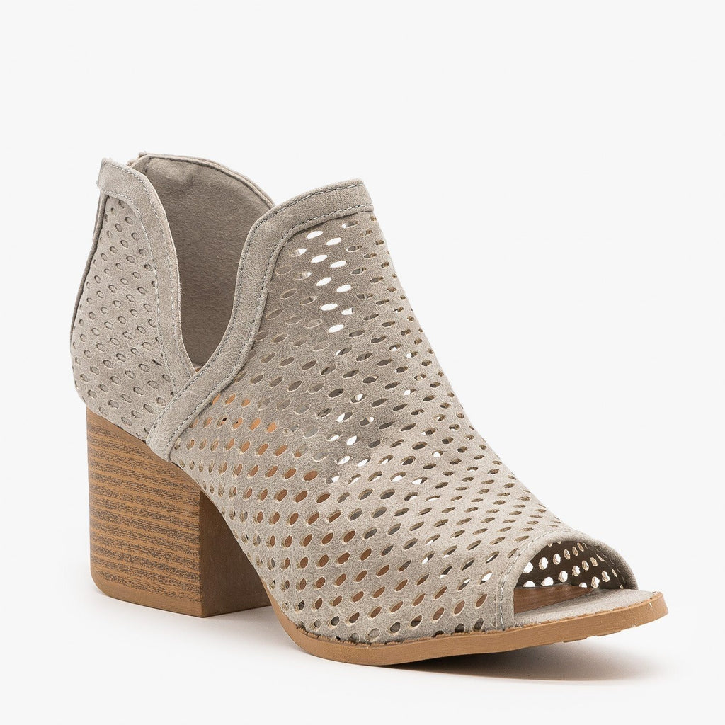 Womens Mesh Peep Toe Booties - Qupid Shoes