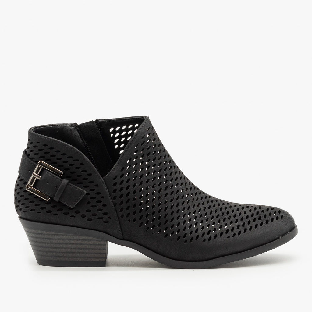 Womens Mesh Pointed Toe Ankle Booties - Soda Shoes - Black / 5