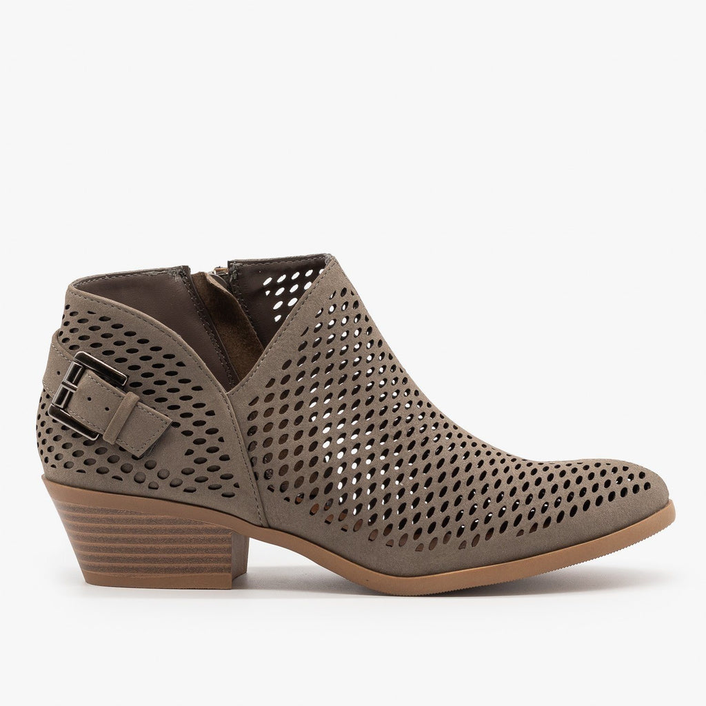 Womens Mesh Pointed Toe Ankle Booties - Soda Shoes - Gray / 5