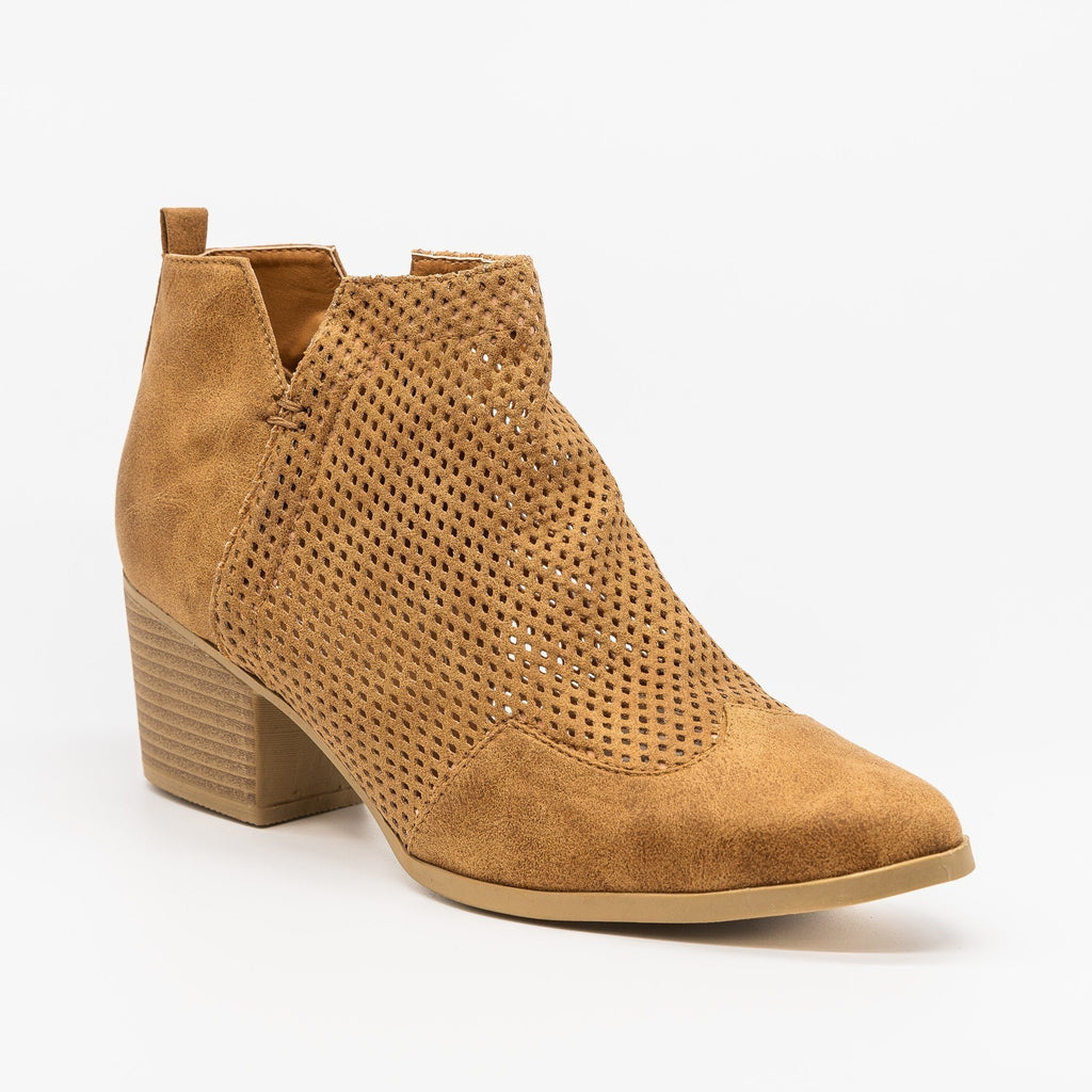 Womens Mesh Pointed Toe Western Booties - Qupid Shoes - Camel / 5