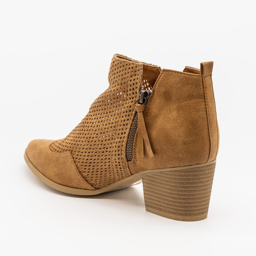 Womens Mesh Pointed Toe Western Booties - Qupid Shoes