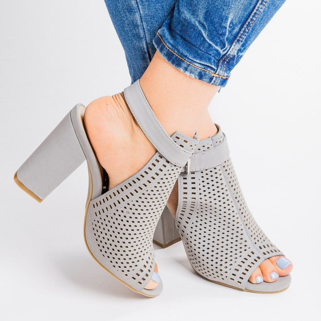 Womens Mesh Slingback Chunky Heels - Bamboo Shoes - Gray / 5