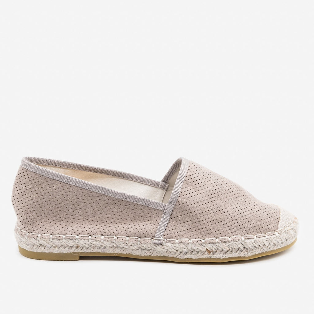 Women's Mesh Slip-on Espadrille Flats - Bella Marie - Gray / 5