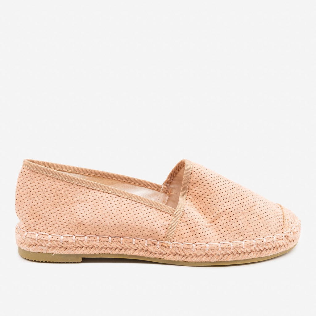 Women's Mesh Slip-on Espadrille Flats - Bella Marie - Dusty Pink / 5