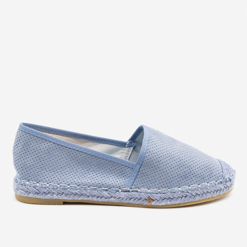 Women's Mesh Slip-on Espadrille Flats - Bella Marie - Light Blue / 5