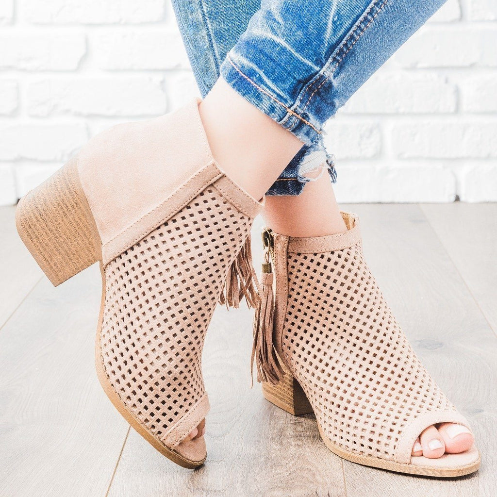 Womens Mesh Tassel Heel Booties - Qupid Shoes