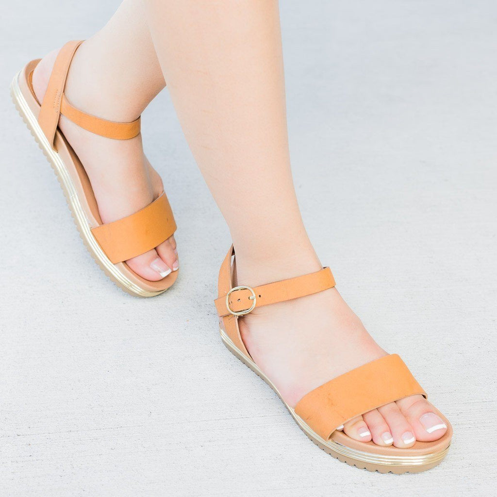 Womens Metal Detail Ankle Strap Sandals - Bamboo Shoes