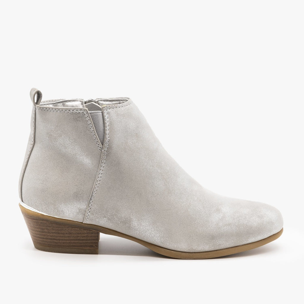 Womens Metallic Accent Booties - Refresh - Silver / 5