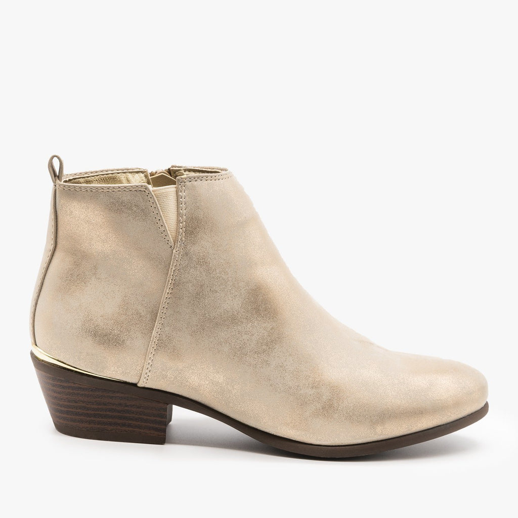 Womens Metallic Accent Booties - Refresh - Rose Gold / 5