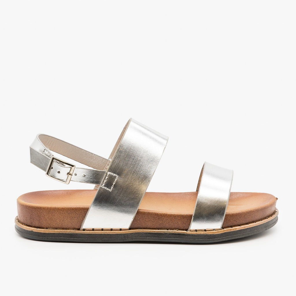 Womens Metallic Basic Sandals - Anna Shoes - Silver Metallica / 5