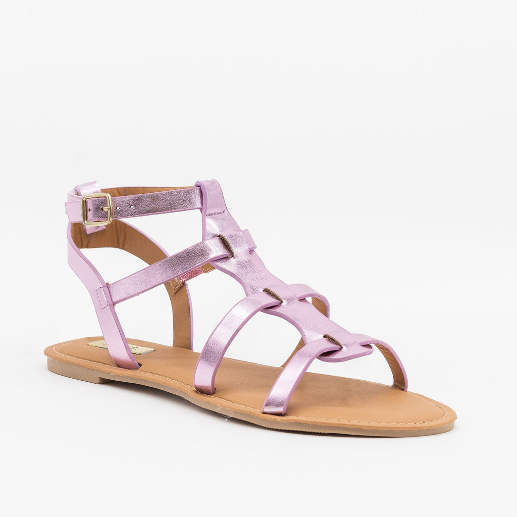 Womens Metallic Caged Gladiator Sandals - Qupid Shoes - Pink / 5