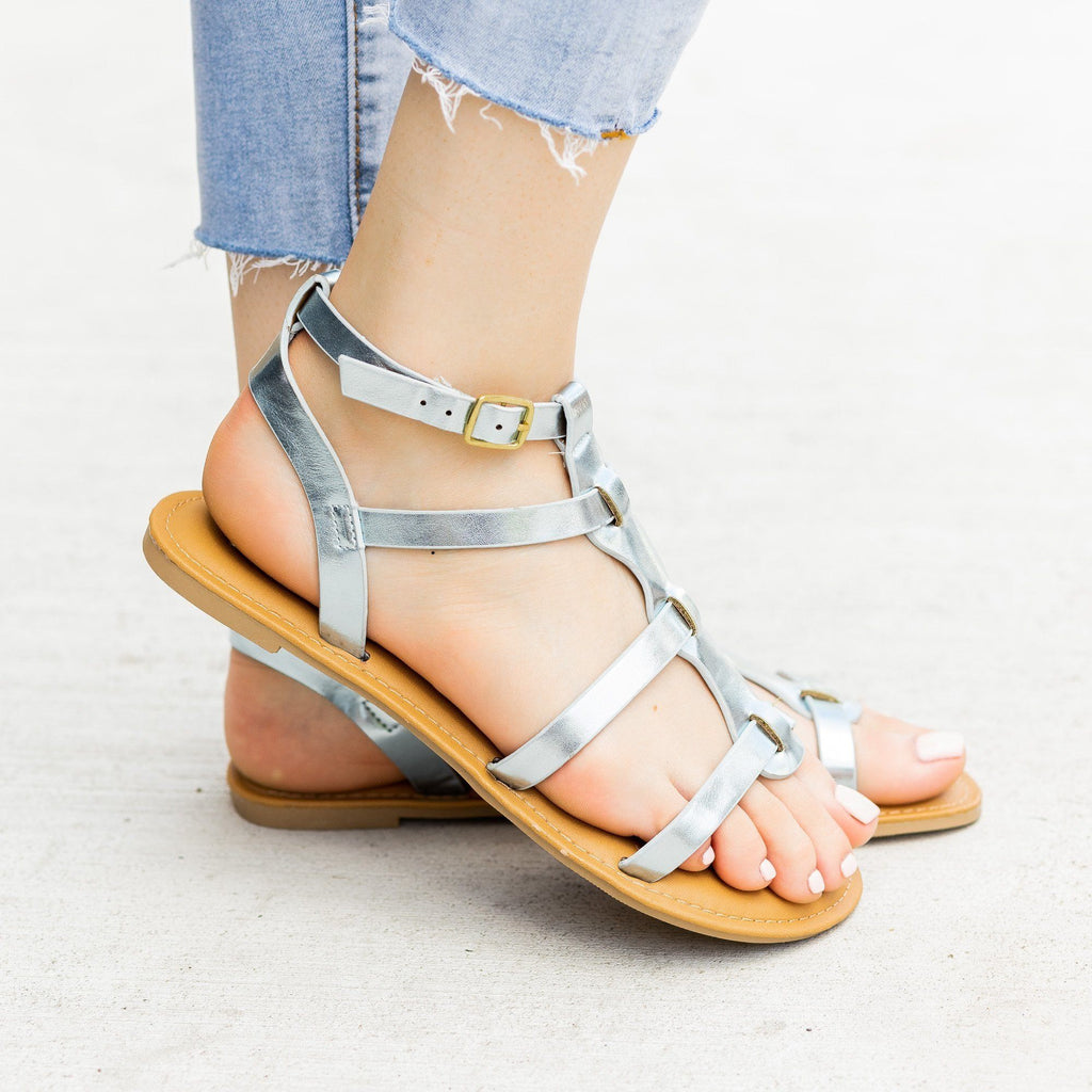 Womens Metallic Caged Gladiator Sandals - Qupid Shoes