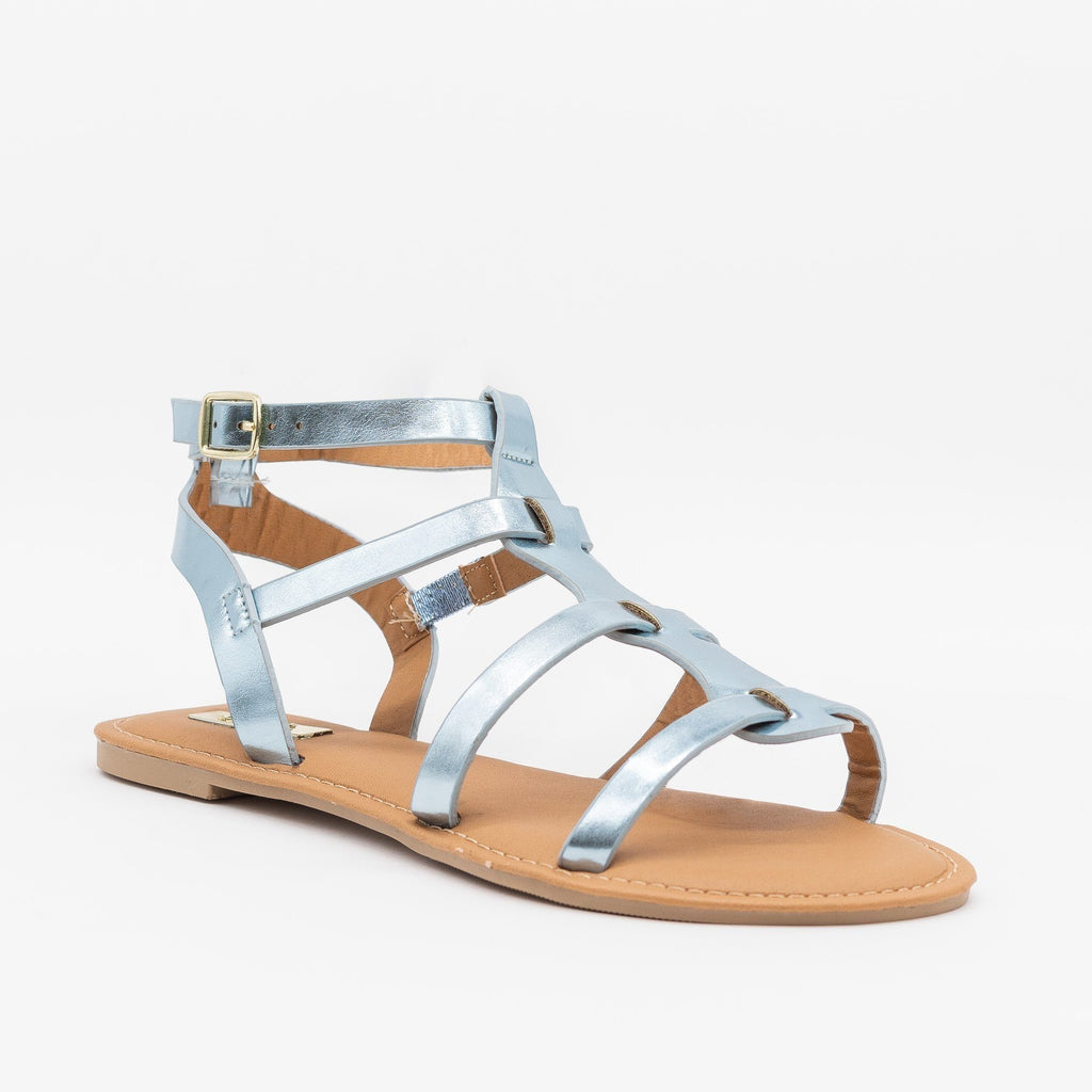 Womens Metallic Caged Gladiator Sandals - Qupid Shoes - Blue / 5