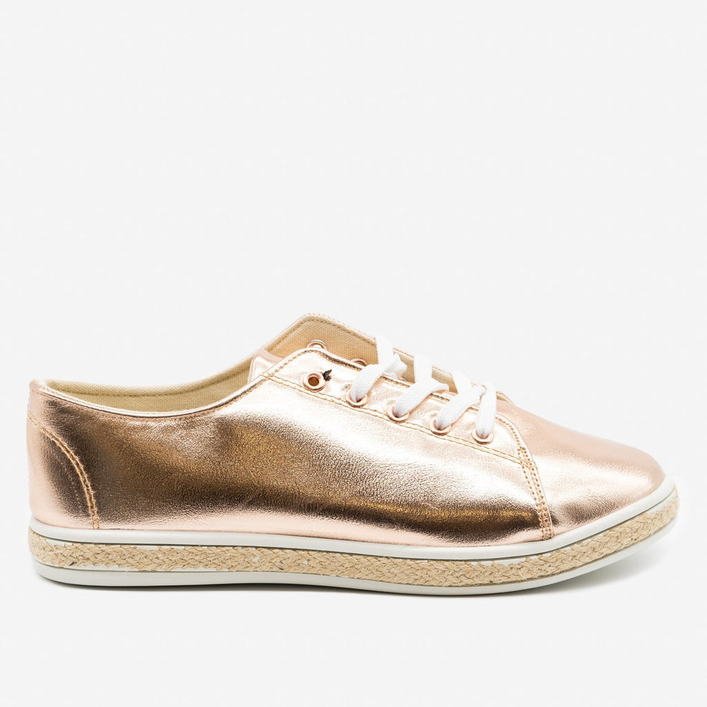 Women's Metallic Gold Espadrille Sneakers - Bamboo Shoes - Rose Gold / 5