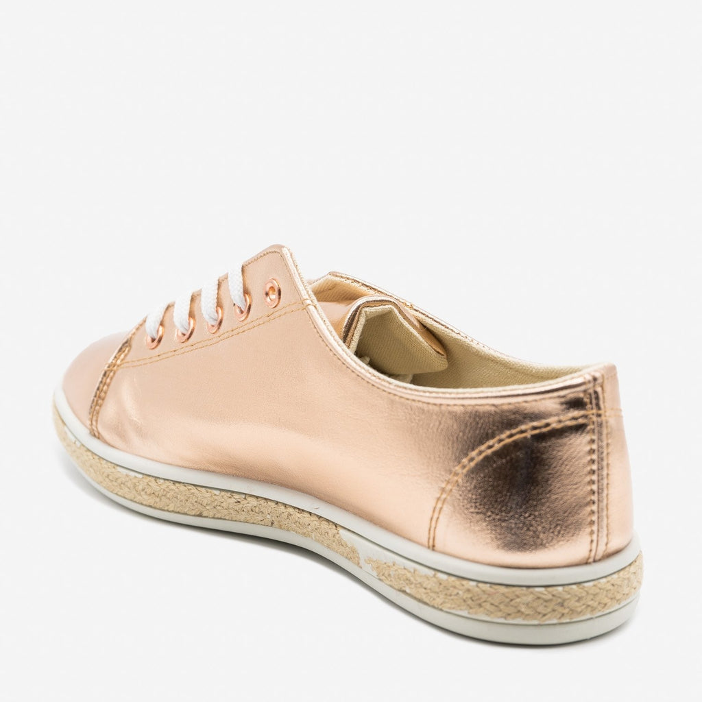Women's Metallic Gold Espadrille Sneakers - Bamboo Shoes