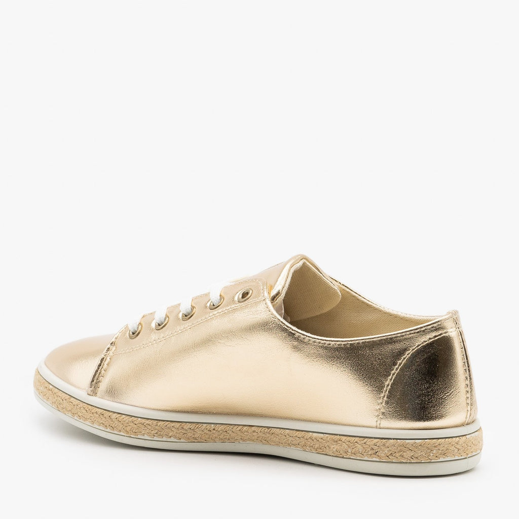 Womens Metallic Gold Espadrille Sneakers - Bamboo Shoes