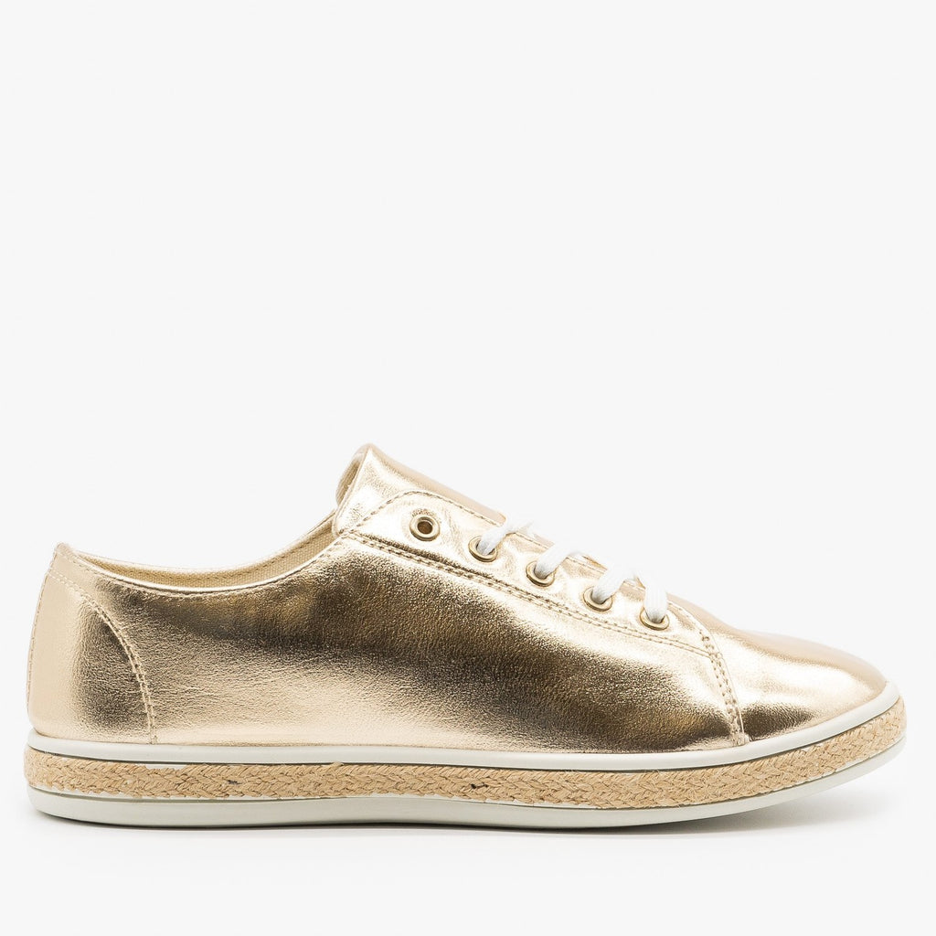 Womens Metallic Gold Espadrille Sneakers - Bamboo Shoes - Gold / 5