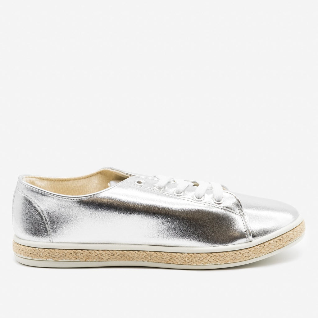 Women's Metallic Gold Espadrille Sneakers - Bamboo Shoes - Silver / 5