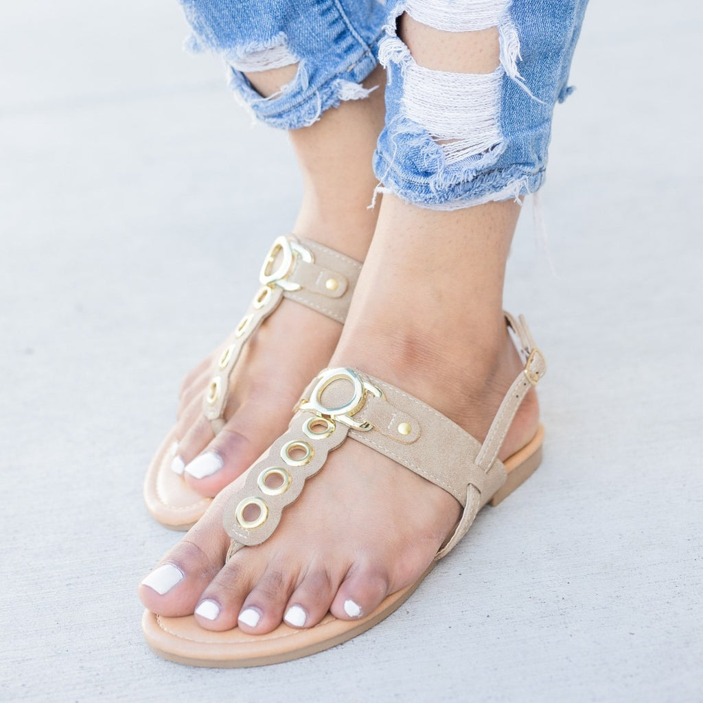 Women's Metallic Loop Strapped Sandals - Glaze - Taupe / 5