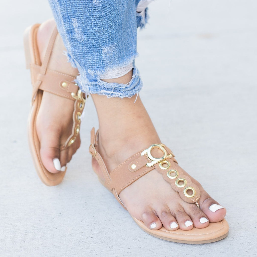 Women's Metallic Loop Strapped Sandals - Glaze