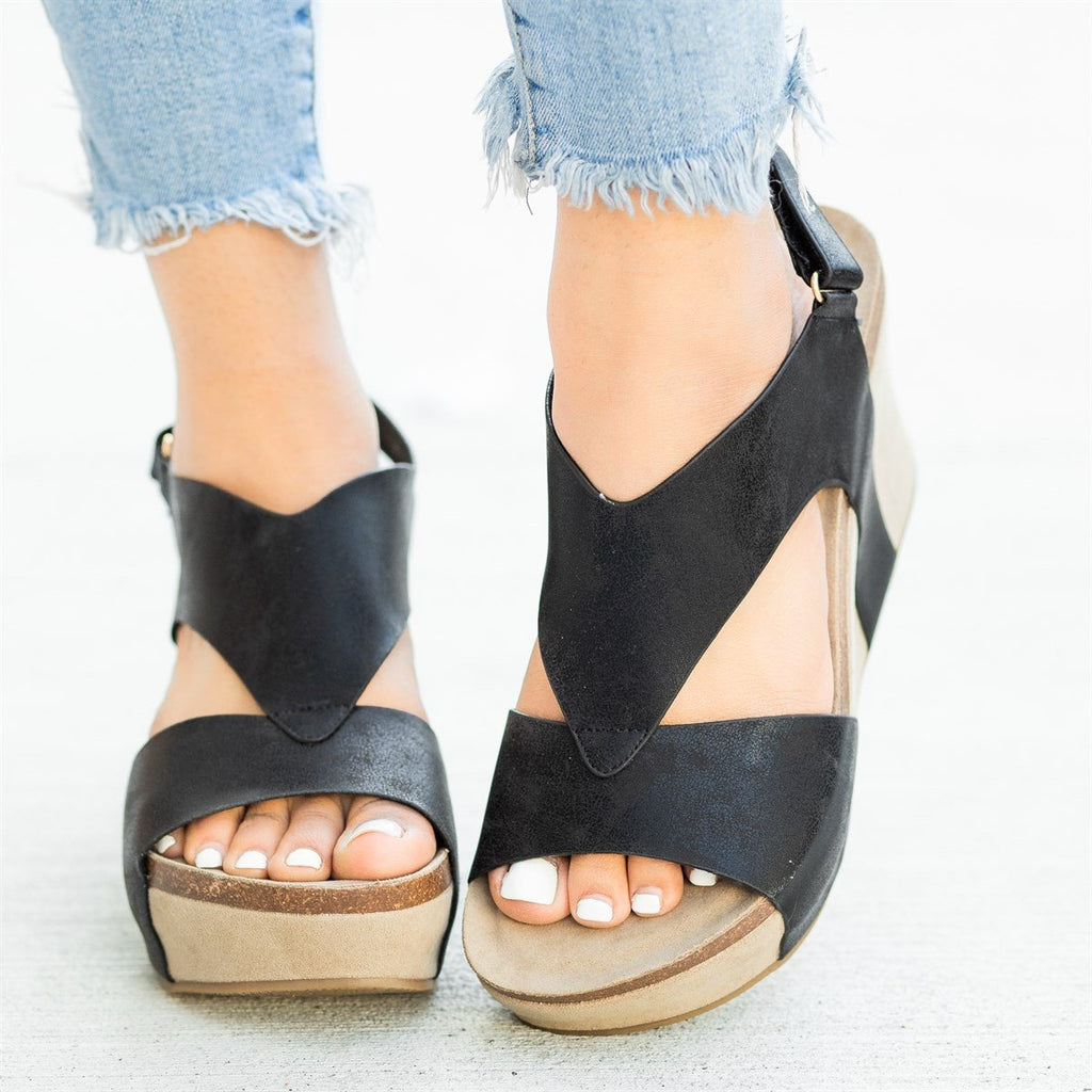 Womens V-Shaped Strap Platform Wedges - Nature Breeze - Black / 5