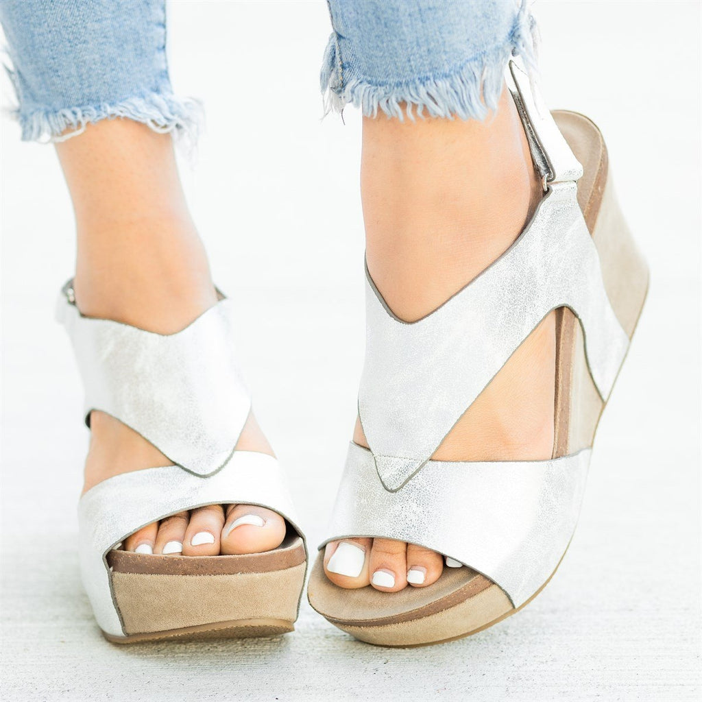Womens V-Shaped Strap Platform Wedges - Nature Breeze - Silver / 5