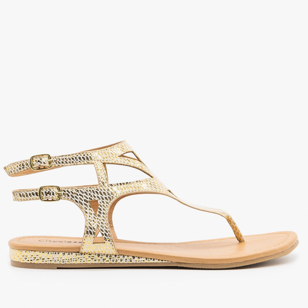 Womens Metallic Snake Print Sandals - City Classified Shoes - Light Gold / 5