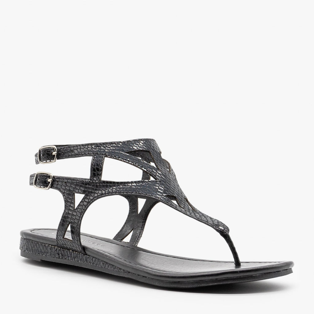 Womens Metallic Snake Print Sandals - City Classified Shoes