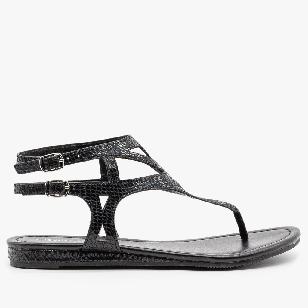 Womens Metallic Snake Print Sandals - City Classified Shoes - Black / 5