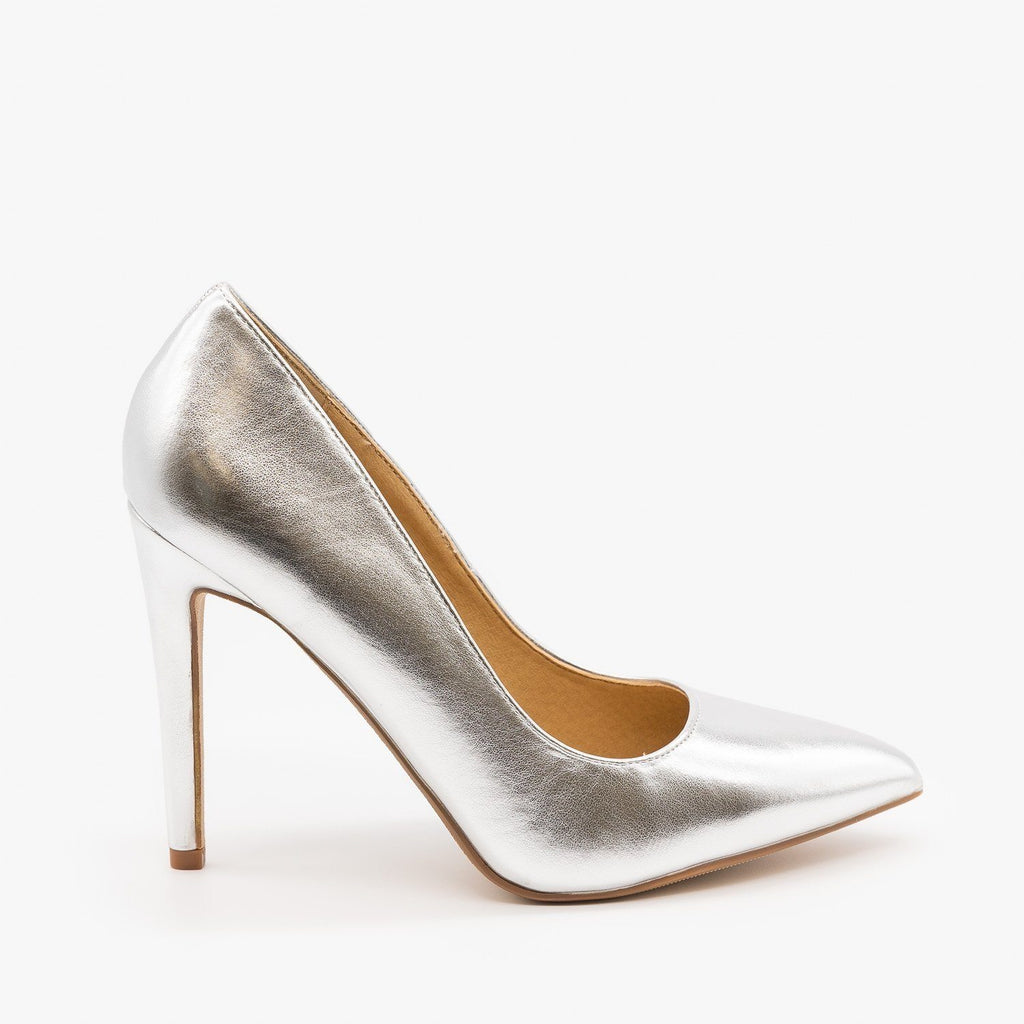 Womens Metallic Stiletto Heels - Delicious Shoes - Silver / 5