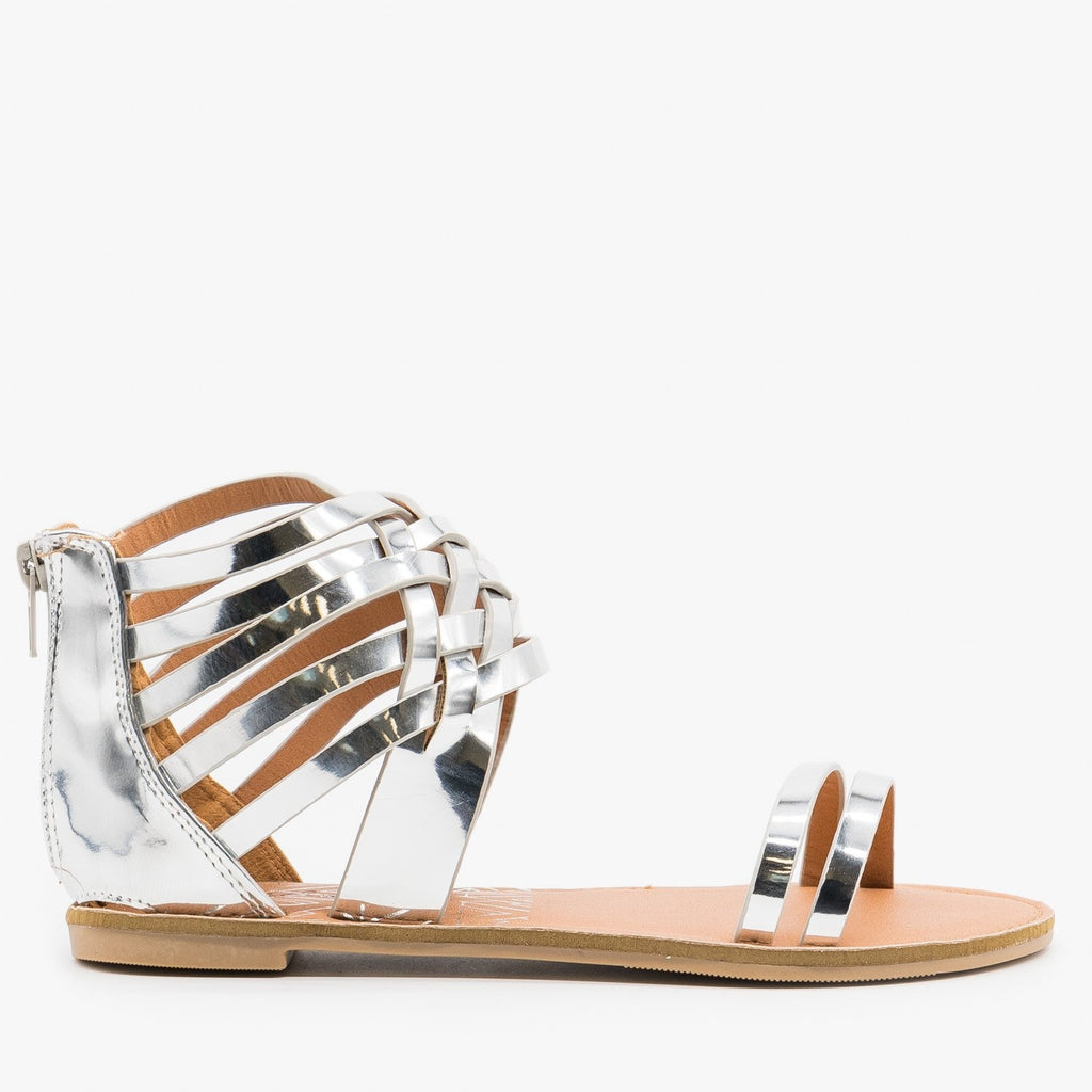 Womens Metallic Strappy Gladiator Sandals - Qupid Shoes - Silver / 5