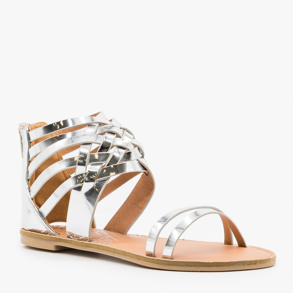 Womens Metallic Strappy Gladiator Sandals - Qupid Shoes