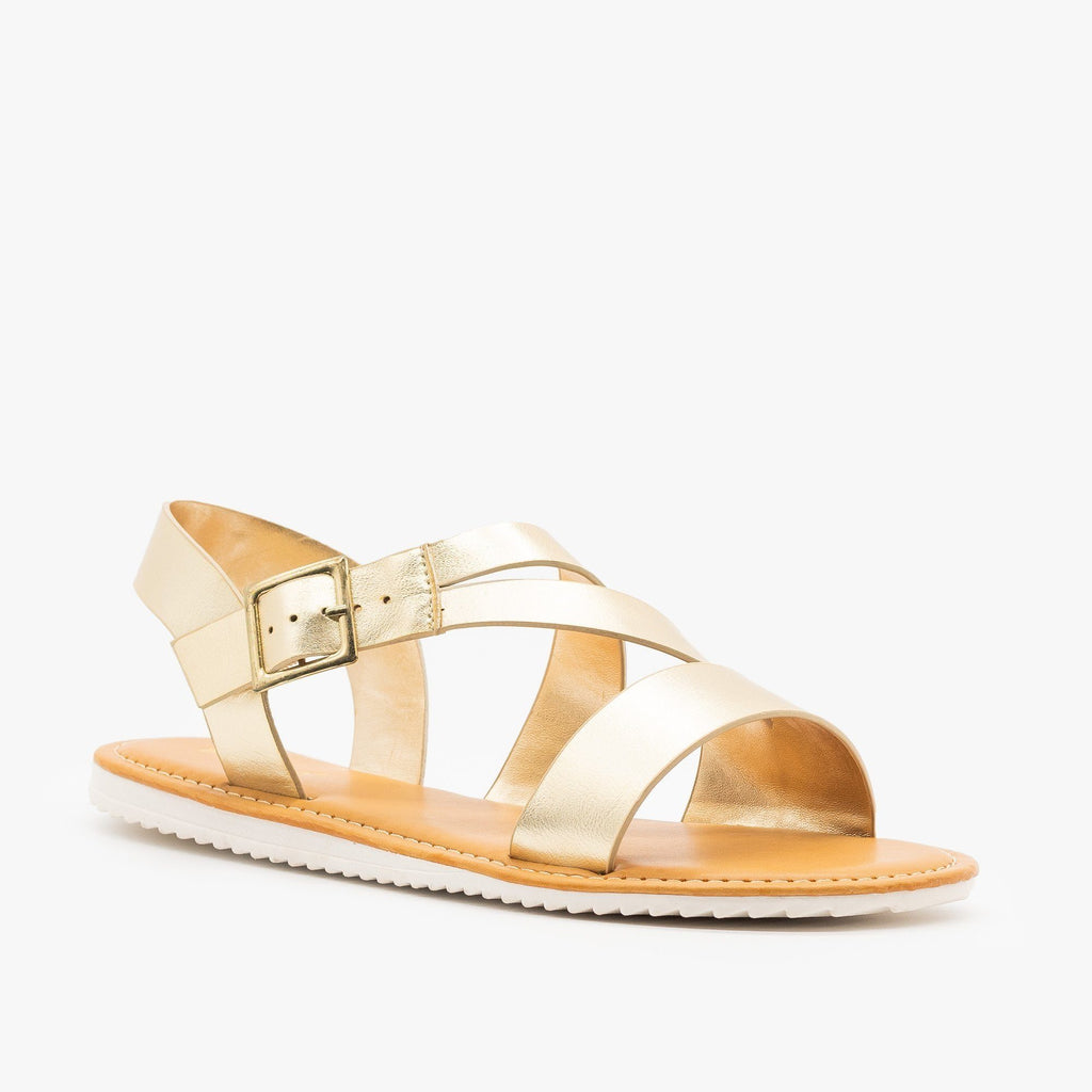 Womens Metallic Strappy Sandals - Bamboo Shoes - Gold / 5