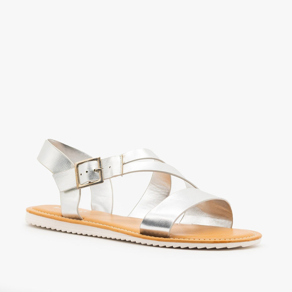 Womens Metallic Strappy Sandals - Bamboo Shoes - Silver / 5