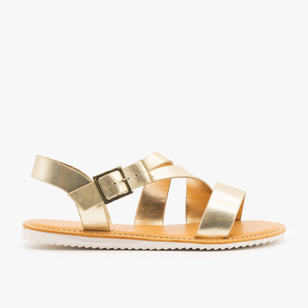 Womens Metallic Strappy Sandals - Bamboo Shoes