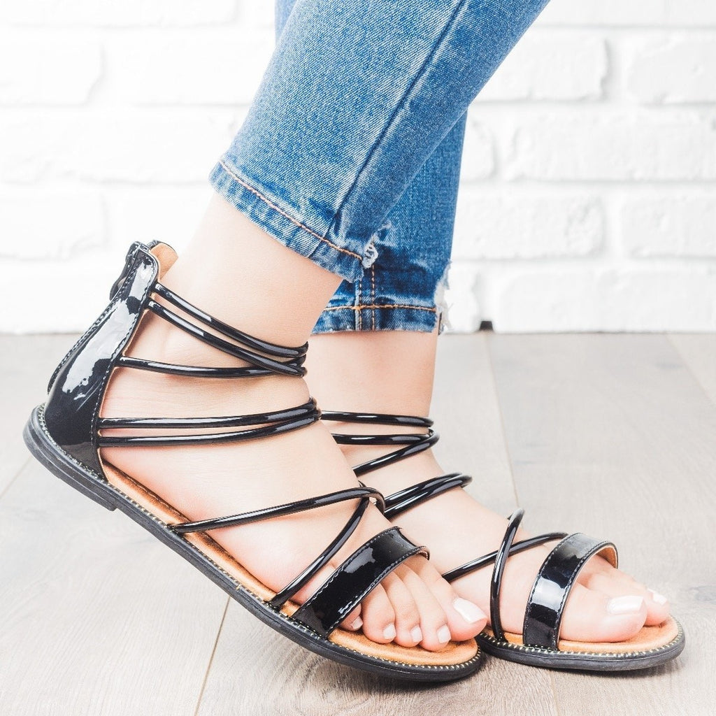 Womens Metallic Strappy Sandals - Forever - Black / 6