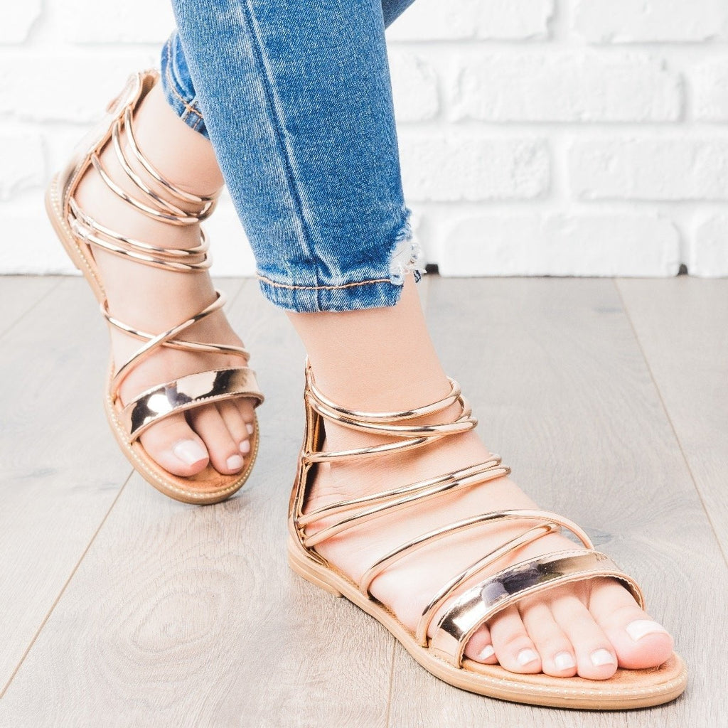 Womens Metallic Strappy Sandals - Forever