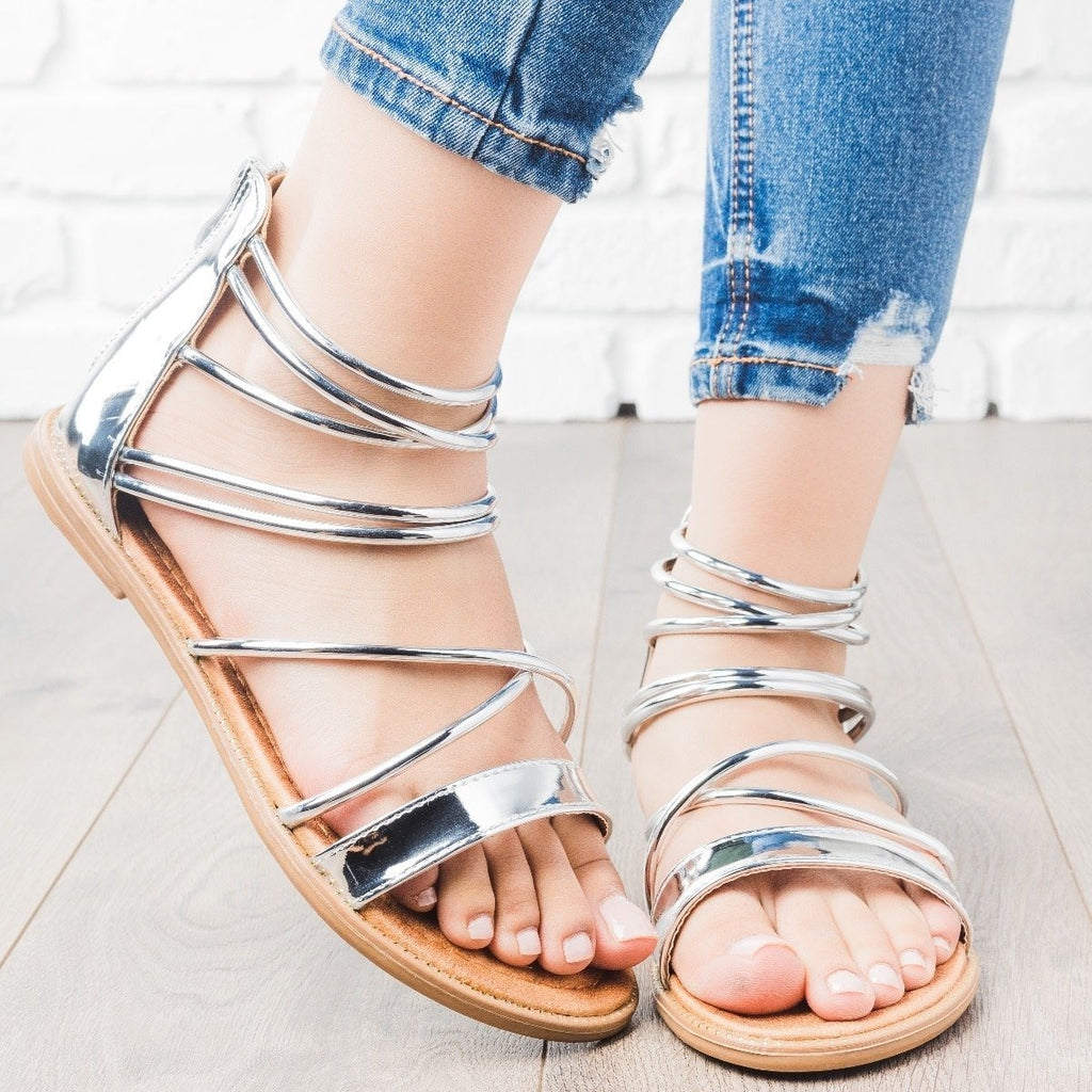 Womens Metallic Strappy Sandals - Forever - Silver / 5