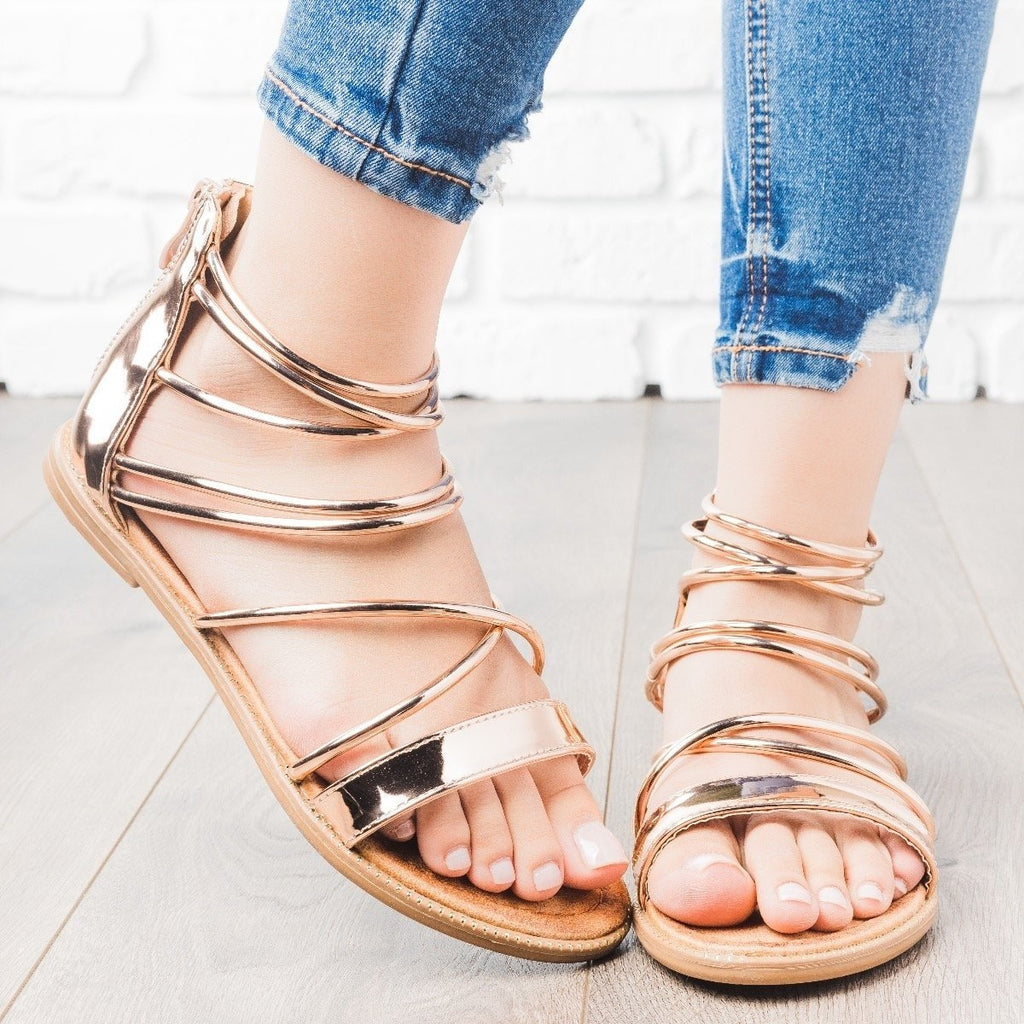 Womens Metallic Strappy Sandals - Forever - Rose Gold / 5